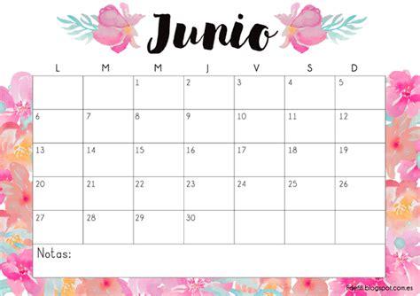 Calendario Junio Calendario Para Descargar E Imprimir Junio 2016 F