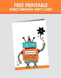 free printable robot birthday card spaceships and laser beams