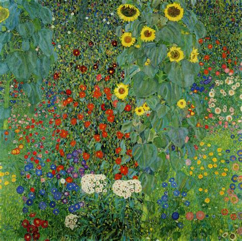 Gustav Klimt Cottage Garden With Sunflowers Gustav Klimt Flower Garden
