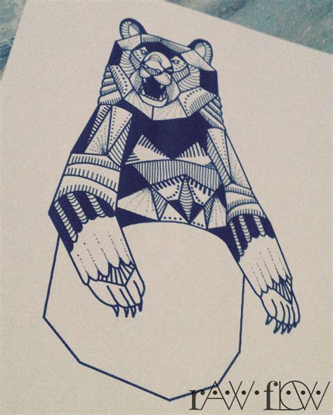 geometric bear tattoo geometric with patterns designs of