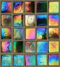 Ceramic Tile Mural Backsplash - multi colored iridescent glass tile wallpaper