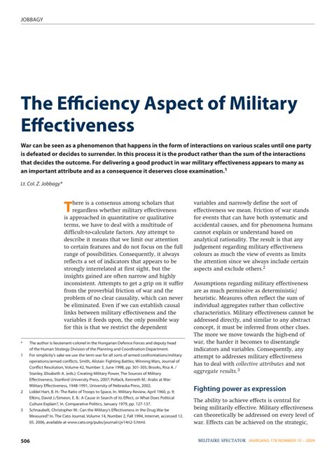 Pdf The Efficiency Aspect Of Military Effectiveness