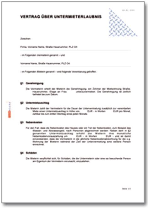 Wohnungsbewerbung Vorlage Word Vertrag 252 Ber Die Erlaubnis Der Untervermietung Ch Vertrag