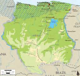 Map of suriname with all cities suriname large detailed physical map