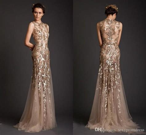 Sequin Gown Couture Dress Gaun Tulle Anak High Fashion krikor jabotian evening dresses 2017 gold mermaid shape tulle sheer see through appliques prom