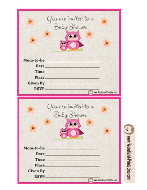 printable owl themed baby shower invitations free printable woodland baby shower party invitations
