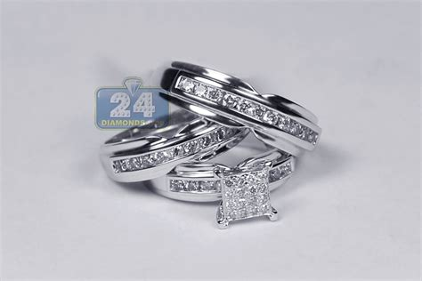 groom wedding 3 ring set 14k white gold 1 34 ct