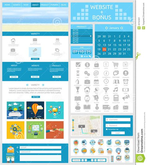 ui pattern pagination one page website design template and flat ui ux elements