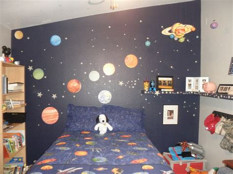 room space outer space themed bedroom for young boys