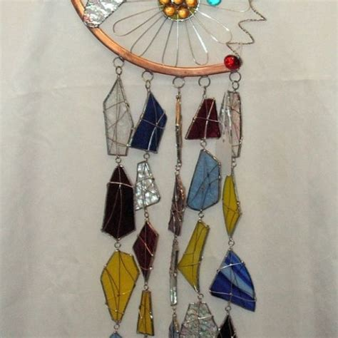 Handmade Glass Wind Chimes - custom handmade stained glass dragonfly wind chime by