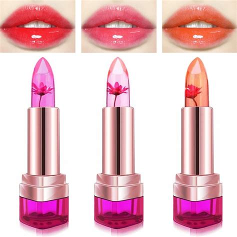 Lipstik Jelly 3pcs jelly flower lipstick temperature color changing lip