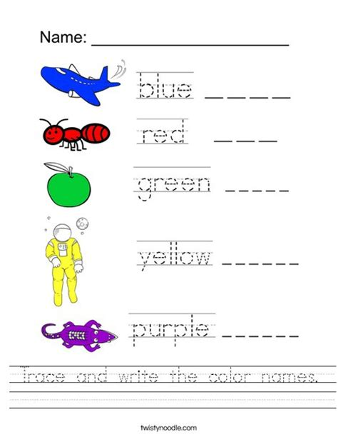 write in color trace and write the color names worksheet twisty noodle