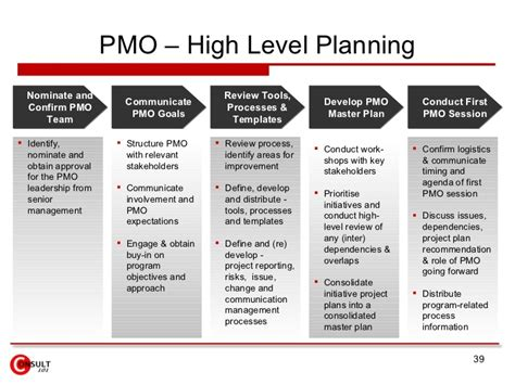 high level project plan template ppt project management office pmo