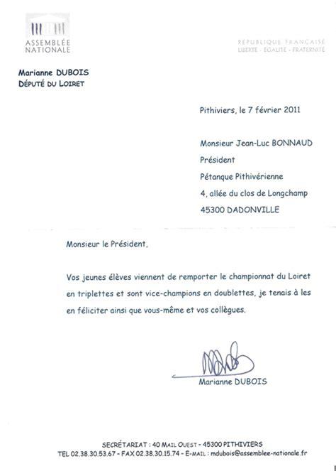 Exemple De Lettre Felicitation Naissance lettre felicitation du depute petanque pithiverienne