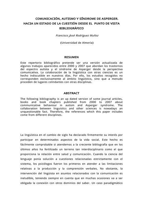 (PDF) Comunicación, autismo y síndrome de Asperger: hacia
