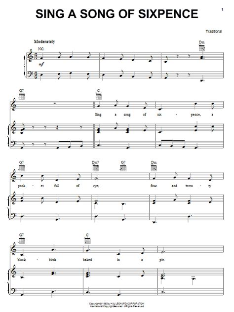 song to sing traditional sing a song of sixpence sheet