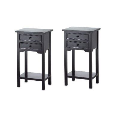 Black Nightstand Set Of 2 Set Of 2 Nightstand Side Tables End Table In Black