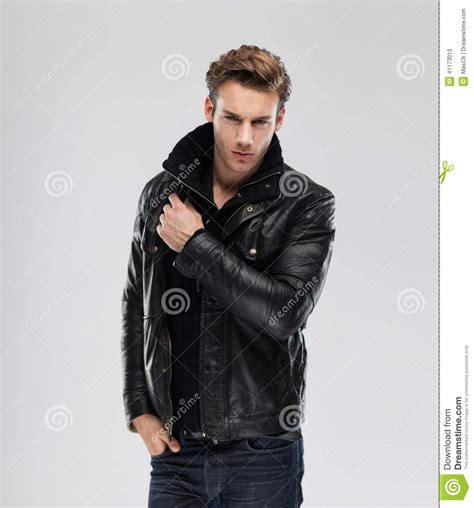 New Fashion Time Leather fashion model leather jacket gray background stock image image of elegance hair 41173013