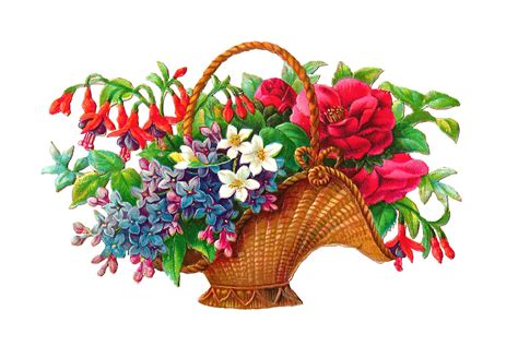antique images free flower basket clip art 2 wicket baskets full of wild flowers graphics