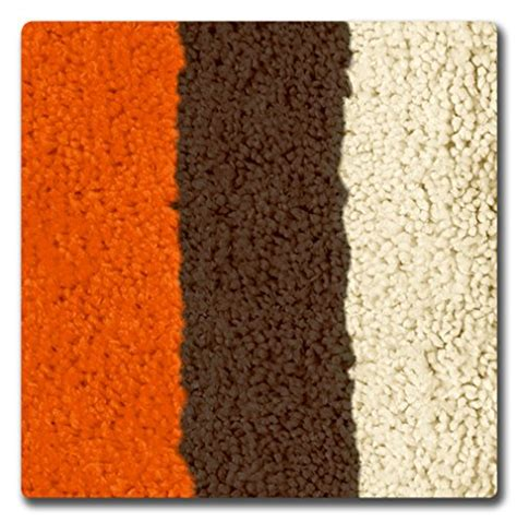 Bathtopia Radella Microfiber Stripe 16 X 24 In Bath Rug Orange Bathroom Rug