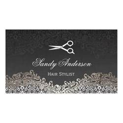 hairstylist business cards vintage silver damask hair stylist