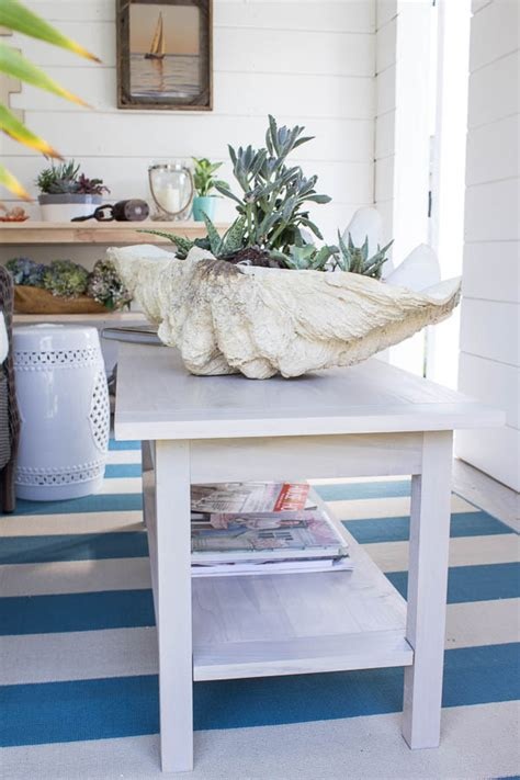 she shed diy coastal coffee table finding silver pennies