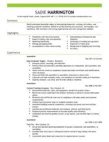 Assembly Resume by Assembler Resume Exles Production Resume Sles Livecareer