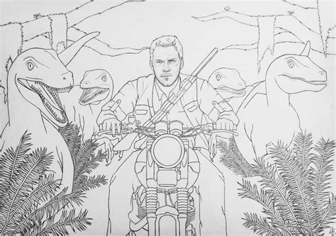 coloring page jurassic world drawing  path