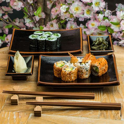Tenmoku Black Japanese Dinner Plate Set
