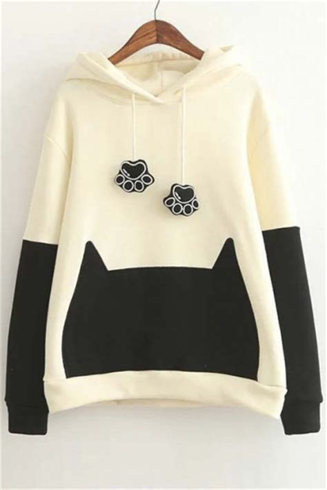 Cat Hodie Jaket trendy color block cat ears hooded sweatshirt with bow back beautifulhalo
