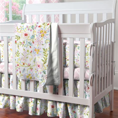 Pink And Gray Primrose 3 Piece Mini Crib Bedding Set Crib Bedding Pink And Grey