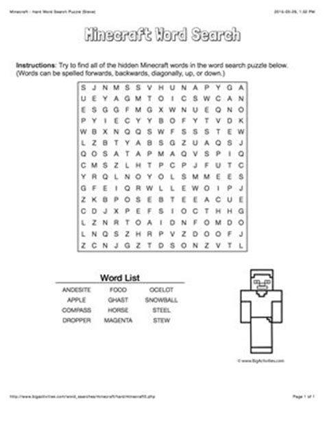 printable word search minecraft 17 best images about minecraft on pinterest minecraft