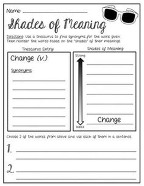 Shades Of Meaning Worksheets by 1000 Images About Shades Of Meaning On Shades