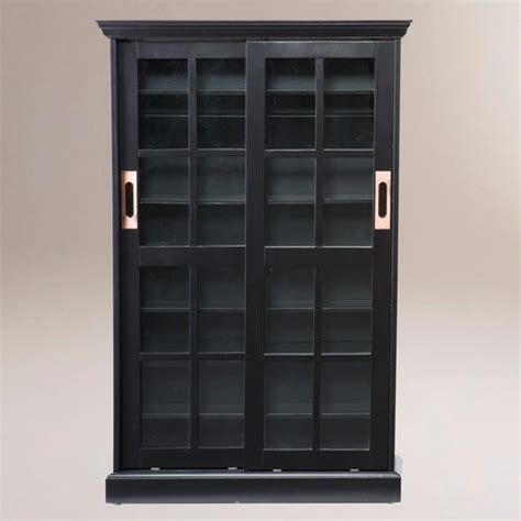 sliding door media cabinet black sliding door bookcase and media cabinet world market