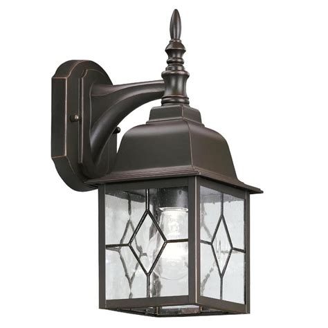 Portfolio Outdoor Lighting Portfolio Rubbed Bronze Outdoor Wall Light Lowe S Canada
