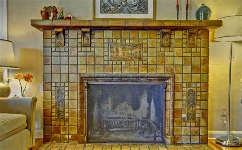 eagle rock batchelder fireplace stair