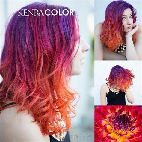 kenra color kenra color purple orange yellow ombre hair hair in
