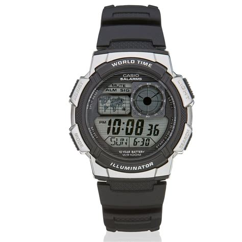 Casio Ae 1000w Black casio ae1000w 1bv black digital world time illuminator