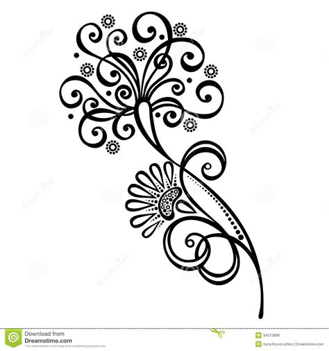 decorative flower decorative flower with leaves stock vector illustration