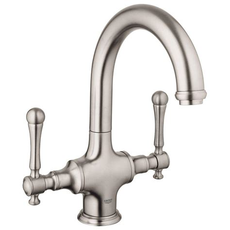 grohe bridgeford 2 handle bar faucet in brushed nickel