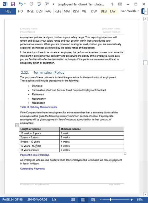 employee handbook templates ms word free policy manual