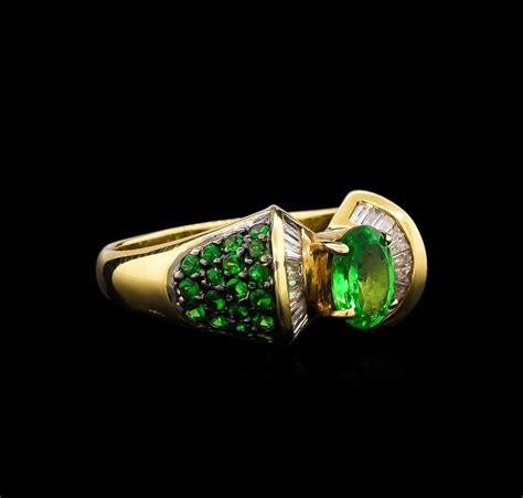 jewelry gemstones ring auction 14kt 1 57ctw tsavorite garnet ring