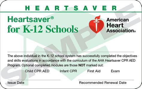 heartsaver cpr aed card template 15 1819 heartsaver for k 12 schools cards 24