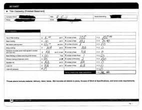Drywall Bid Template construction bid sheet template