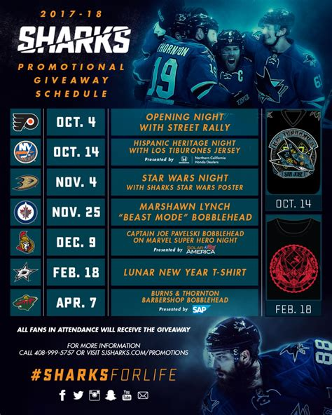 Sharks Giveaway Schedule - sharks announce 2017 18 sharkpak plans updated promotional schedule nhl com