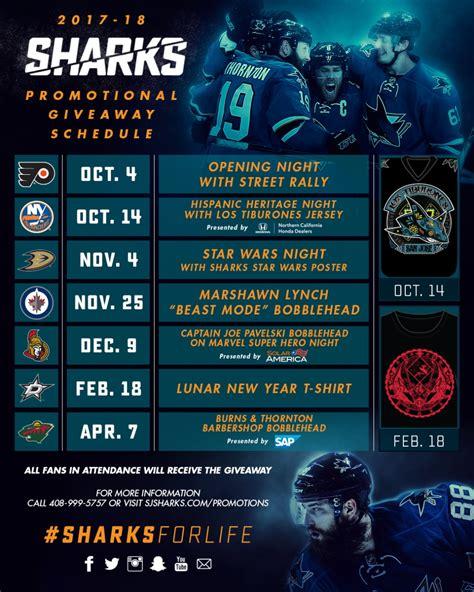 Sharks Giveaways 2017 - sharks announce 2017 18 sharkpak plans updated promotional schedule nhl com