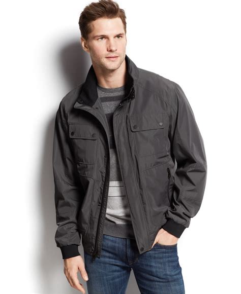Jacket Calvin calvin klein micro checked bomber jacket in gray for lyst