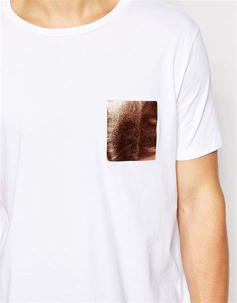 Print Mock Two Pullover asos t shirt with foil print mock pocket in relaxed skater
