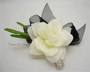 Orchid Wrist Corsage Gardenia Corsagecreamy White With Black Ribbon Silk Flower
