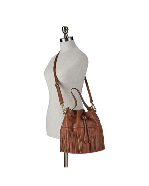 Fossil Jules Large Brown fossil jules mini fringe drawstring in brown save 28 lyst